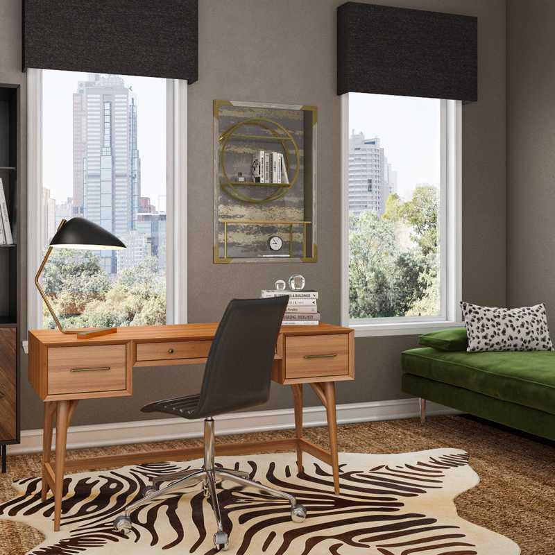 Bohemian, Glam, Midcentury Modern Office Design by Havenly Interior Designer Nicola