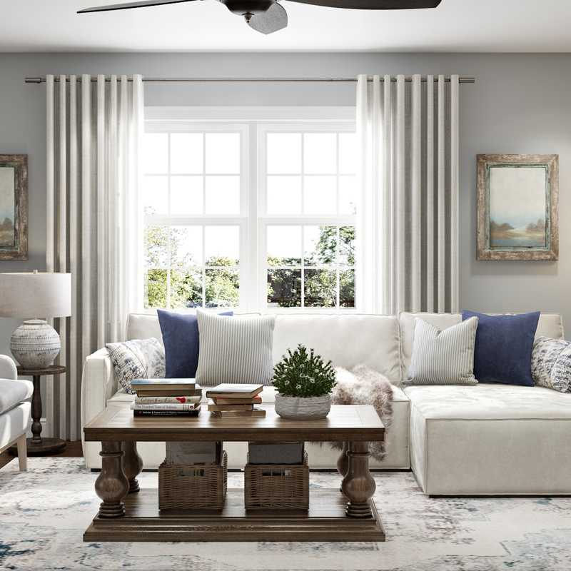 Farmhouse, Transitional Living Room Design by Havenly Interior Designer Ashley