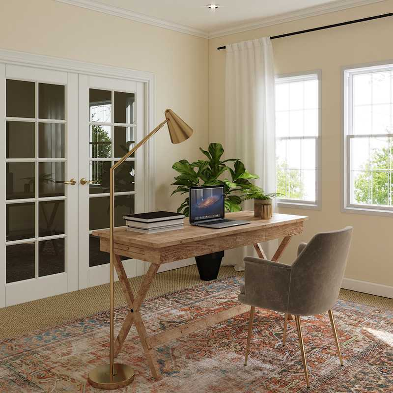 Eclectic, Bohemian, Farmhouse Office Design by Havenly Interior Designer Nichole