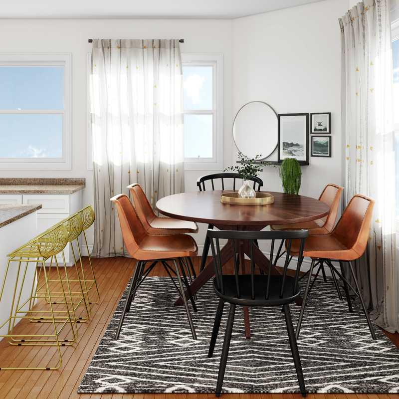 Bohemian, Midcentury Modern Dining Room Design by Havenly Interior Designer Daniela