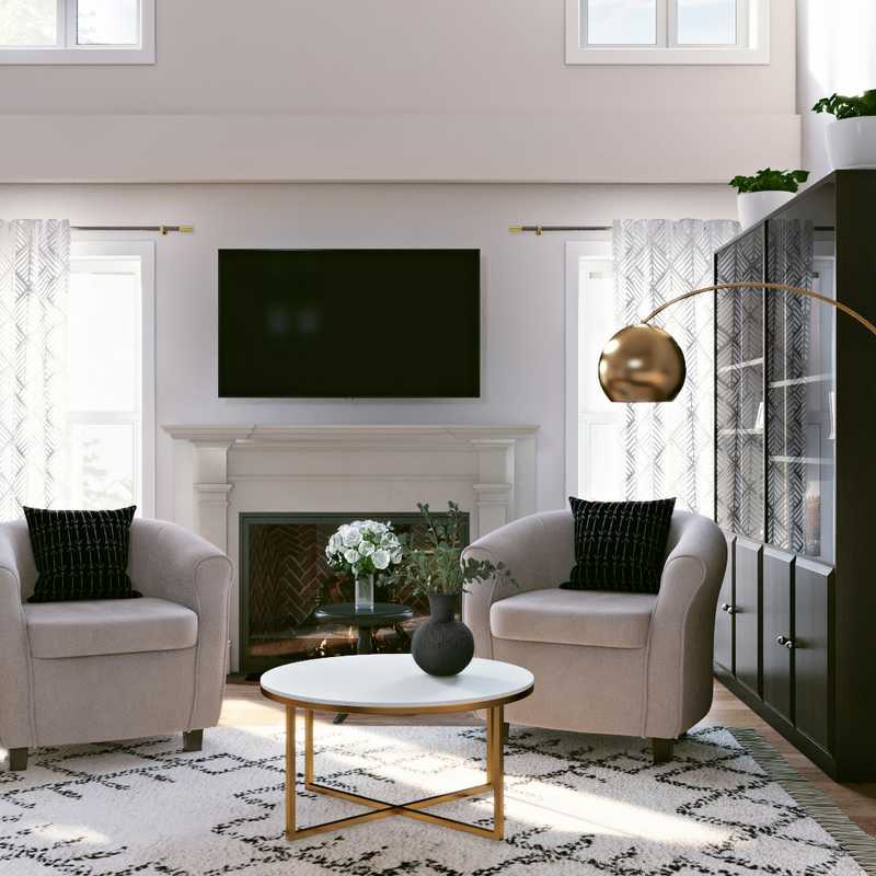 Contemporary, Bohemian, Midcentury Modern, Scandinavian Living Room Design by Havenly Interior Designer Masooma
