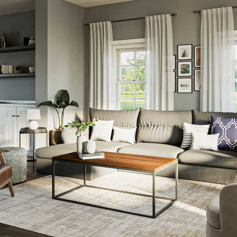 Modern, Coastal, Traditional Living Room Design by Havenly Interior Designer Laura