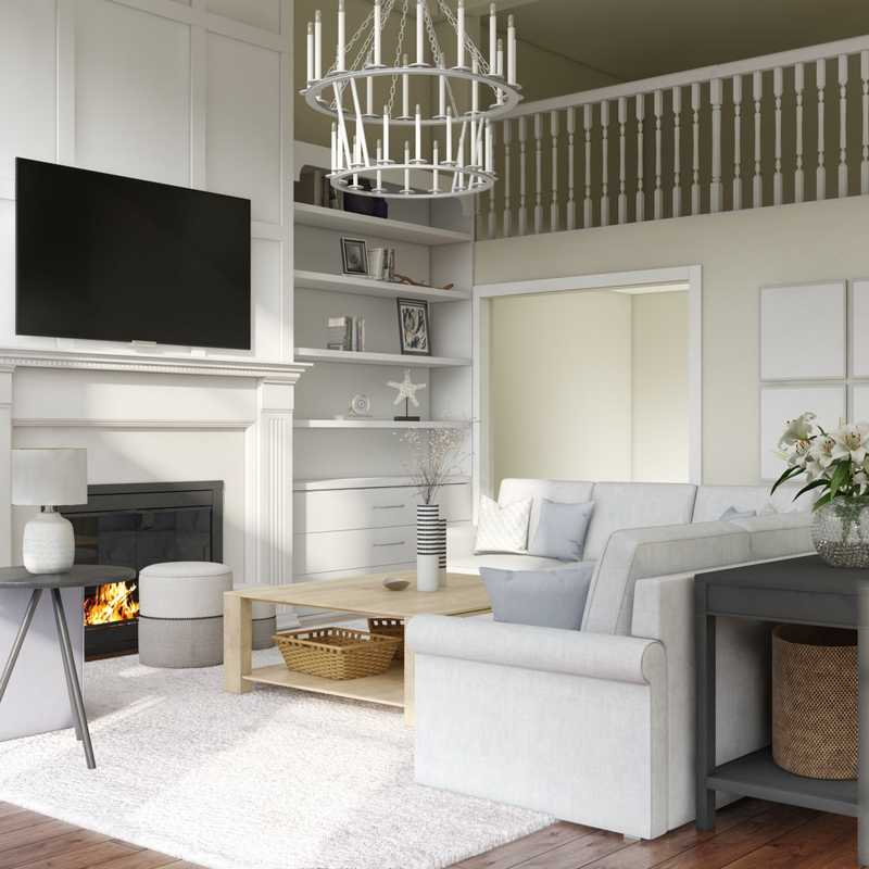 Contemporary, Classic, Coastal, Glam, Traditional, Transitional, Classic Contemporary Living Room Design by Havenly Interior Designer Lisa