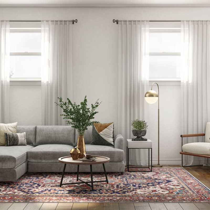 Bohemian, Industrial, Midcentury Modern Living Room Design by Havenly Interior Designer Laura