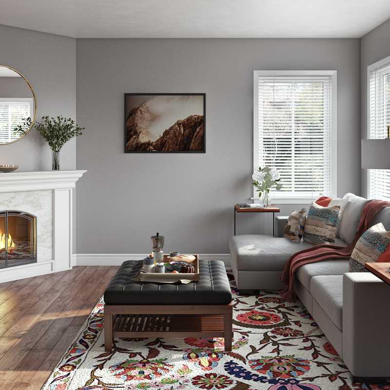 Bohemian, Farmhouse Living Room Design by Havenly Interior Designer Jen