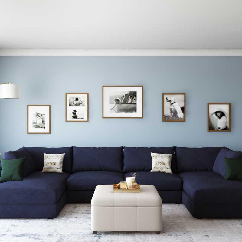 Contemporary, Farmhouse Living Room Design by Havenly Interior Designer Sarah