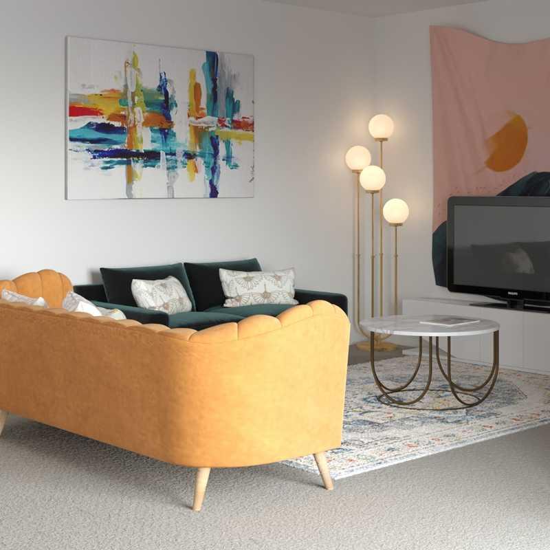Modern, Eclectic, Bohemian, Glam, Midcentury Modern Living Room Design by Havenly Interior Designer Christina