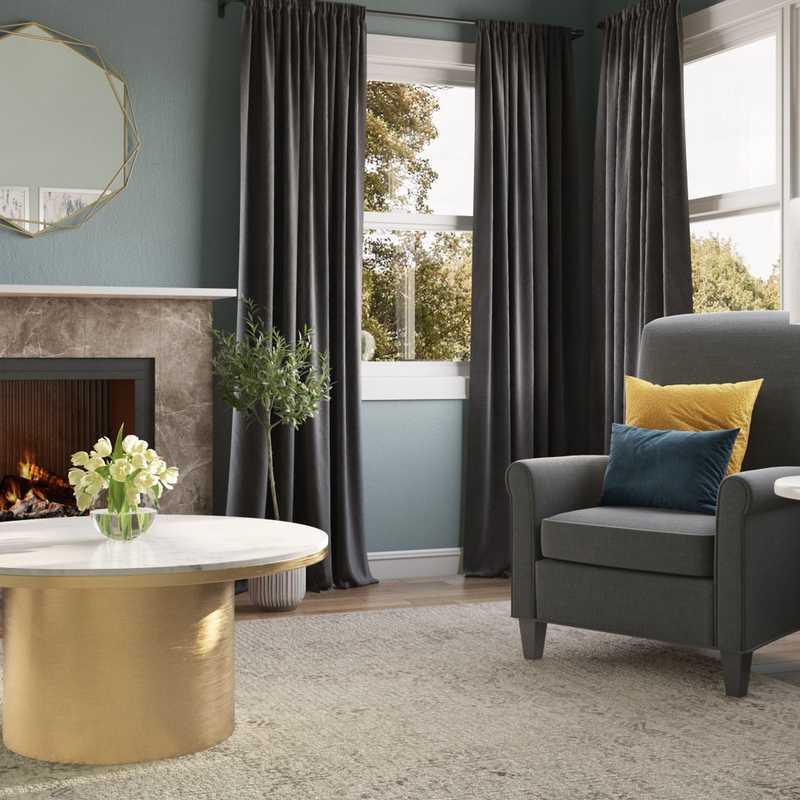 Glam, Transitional Living Room Design by Havenly Interior Designer Tabithalynn