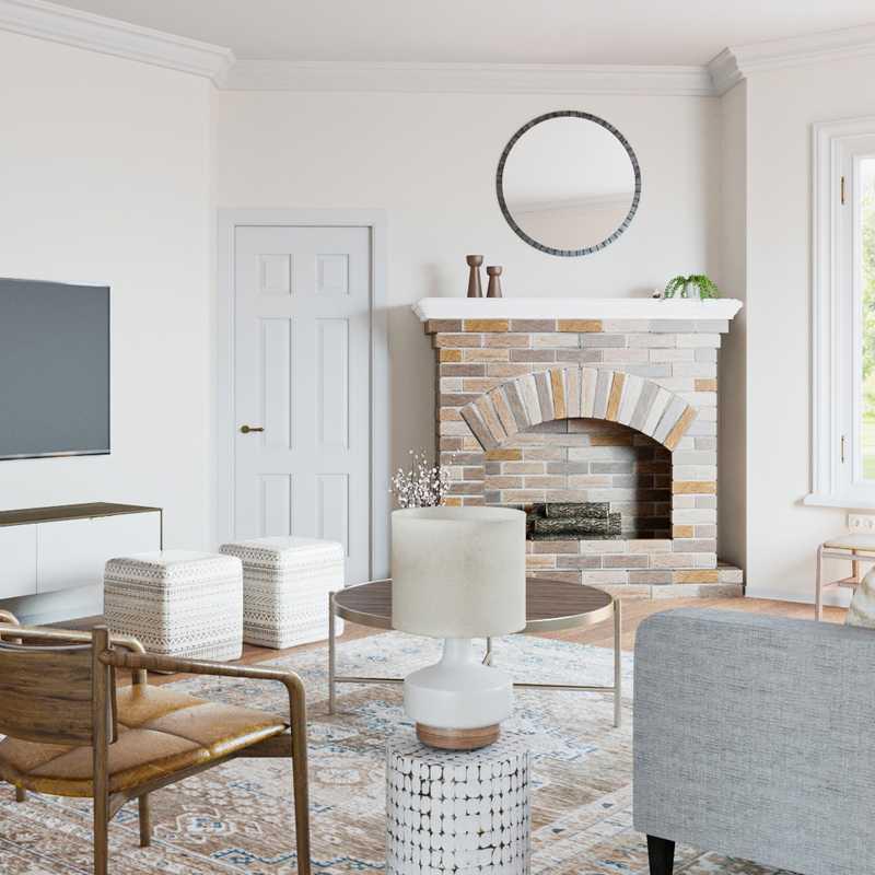 Bohemian, Midcentury Modern, Scandinavian Living Room Design by Havenly Interior Designer Emily