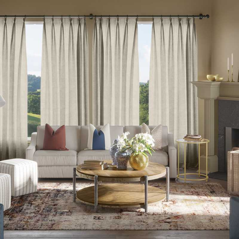 Eclectic, Traditional Living Room Design by Havenly Interior Designer Laura
