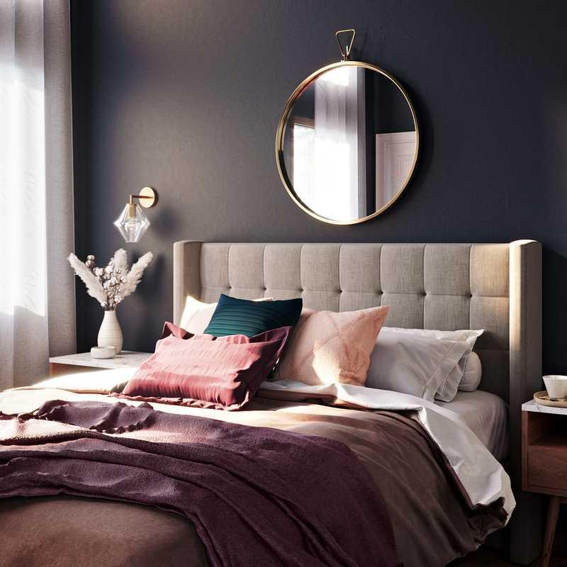 Bohemian, Midcentury Modern Bedroom Design by Havenly Interior Designer Allison
