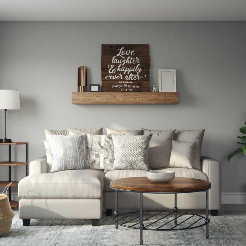 Classic, Coastal, Farmhouse Living Room Design by Havenly Interior Designer Elizabeth