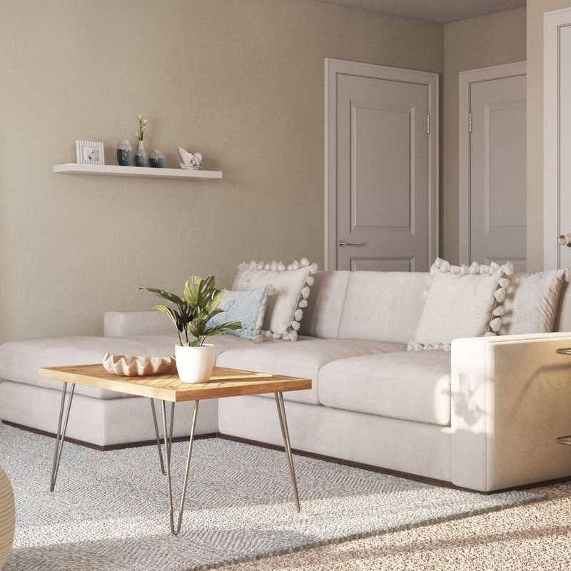Coastal, Farmhouse Living Room Design by Havenly Interior Designer Aubrey