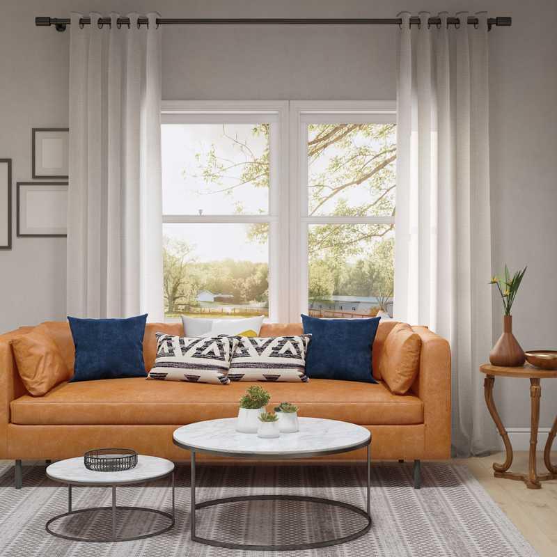 Bohemian, Industrial, Midcentury Modern Living Room Design by Havenly Interior Designer Dayana