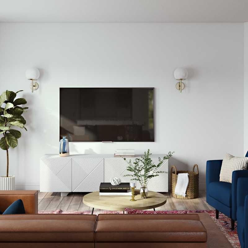 Bohemian, Midcentury Modern Living Room Design by Havenly Interior Designer Legacy