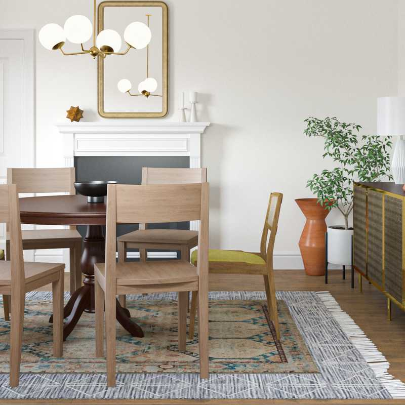Eclectic, Bohemian, Midcentury Modern Dining Room Design by Havenly Interior Designer Abril