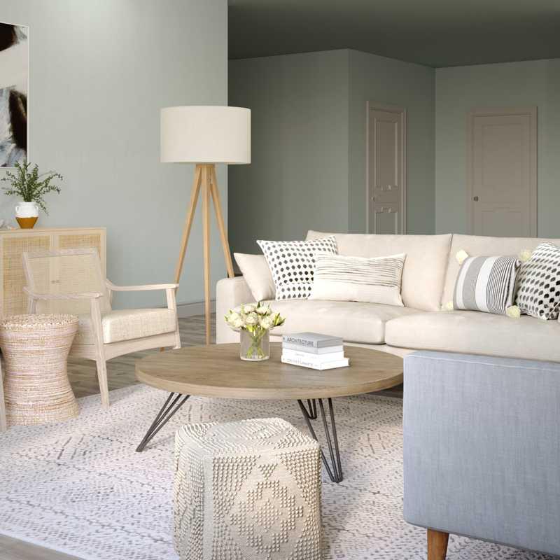 Contemporary, Coastal Living Room Design by Havenly Interior Designer Pouneh