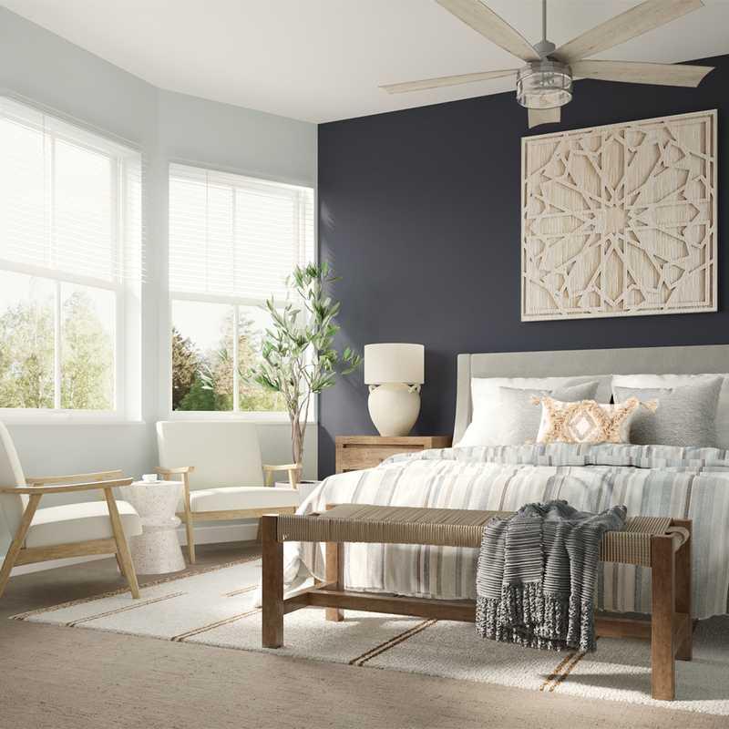 Bohemian, Coastal Bedroom Design by Havenly Interior Designer Astrid