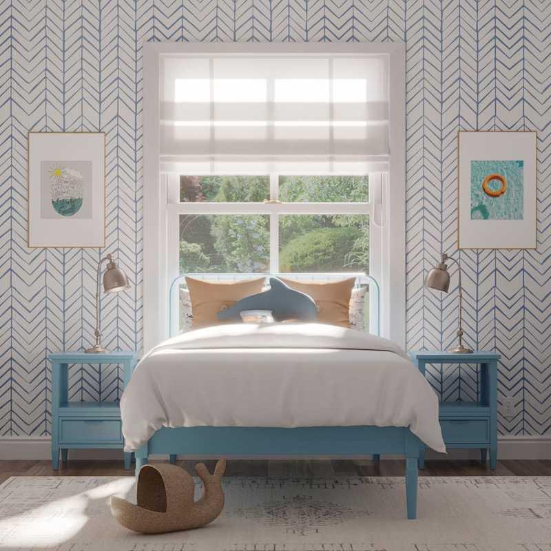 Contemporary, Bohemian, Coastal Bedroom Design by Havenly Interior Designer Lisa