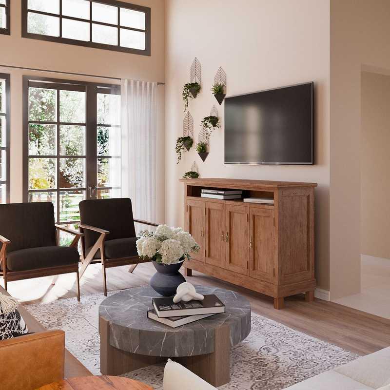 Industrial, Rustic, Midcentury Modern Living Room Design by Havenly Interior Designer Ana