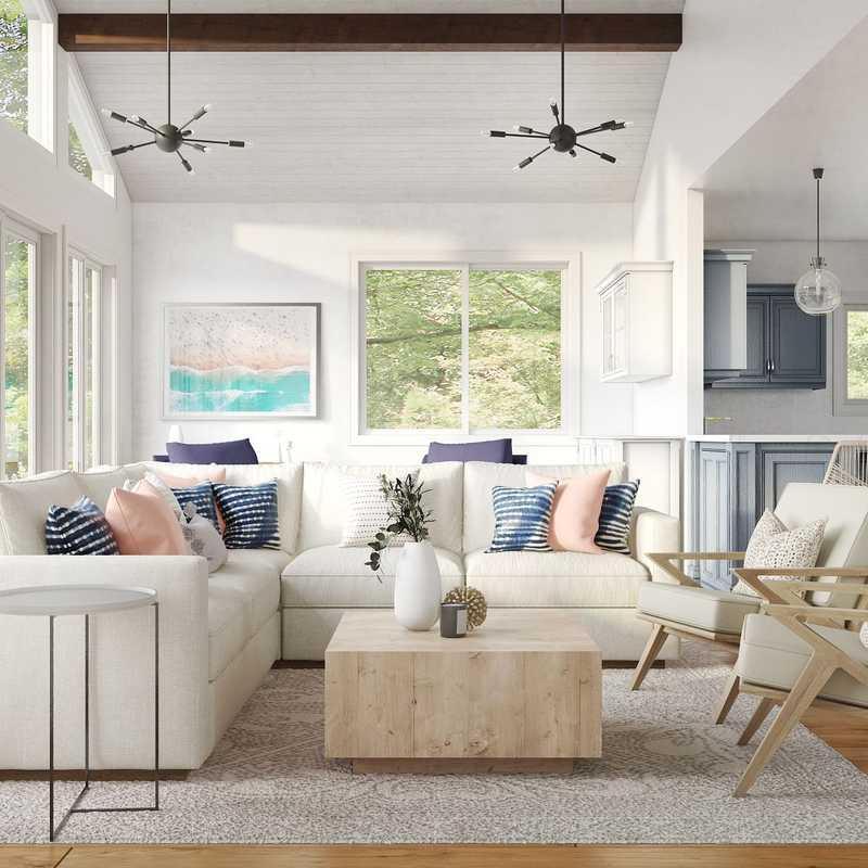 Contemporary, Modern, Bohemian, Coastal, Transitional, Scandinavian Living Room Design by Havenly Interior Designer Lisa