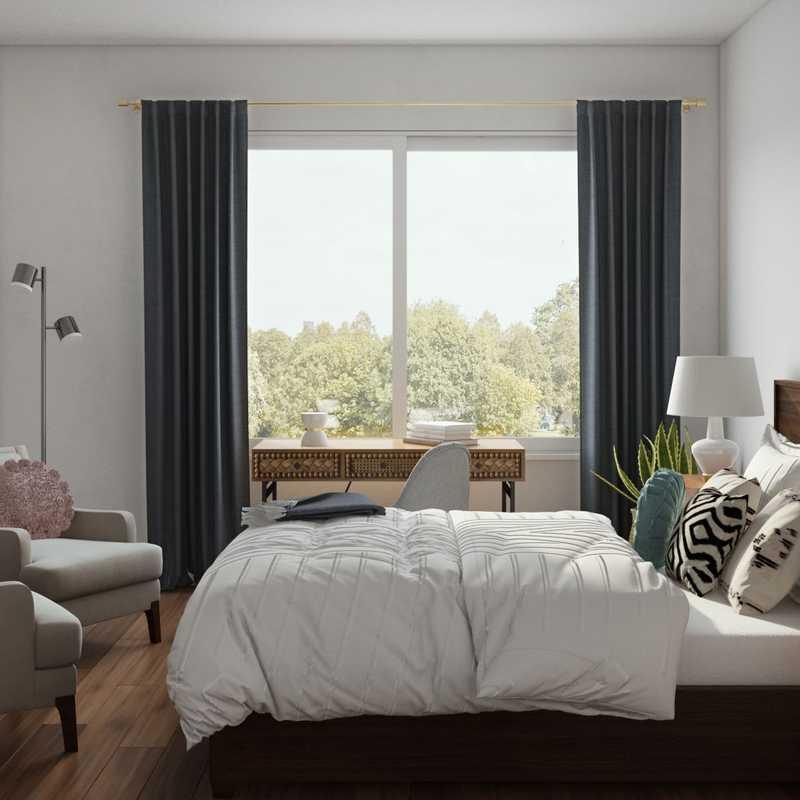 Bohemian, Midcentury Modern Bedroom Design by Havenly Interior Designer Brianna