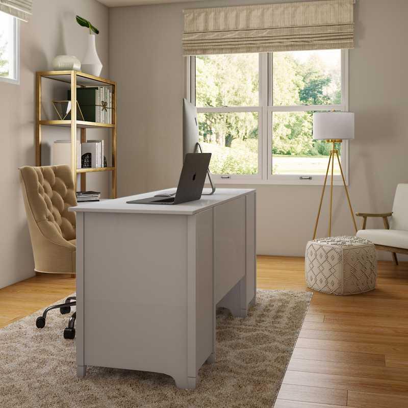 Modern, Bohemian, Coastal, Glam, Minimal, Preppy Office Design by Havenly Interior Designer Christina