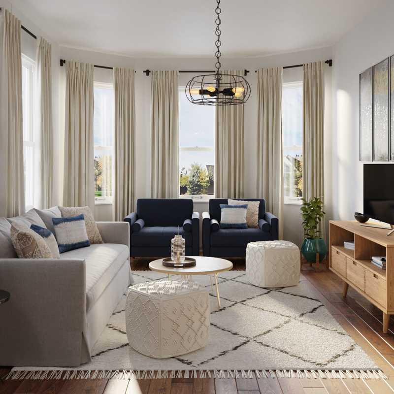 Bohemian, Midcentury Modern Living Room Design by Havenly Interior Designer Erin
