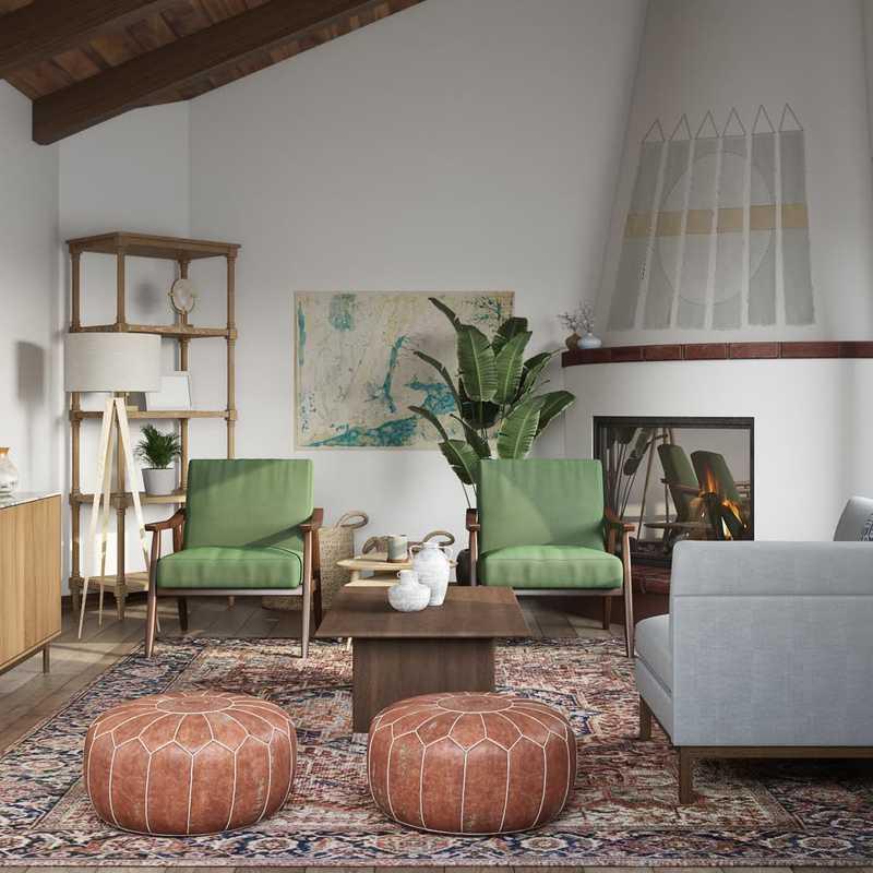 Bohemian, Global, Midcentury Modern Living Room Design by Havenly Interior Designer Julia