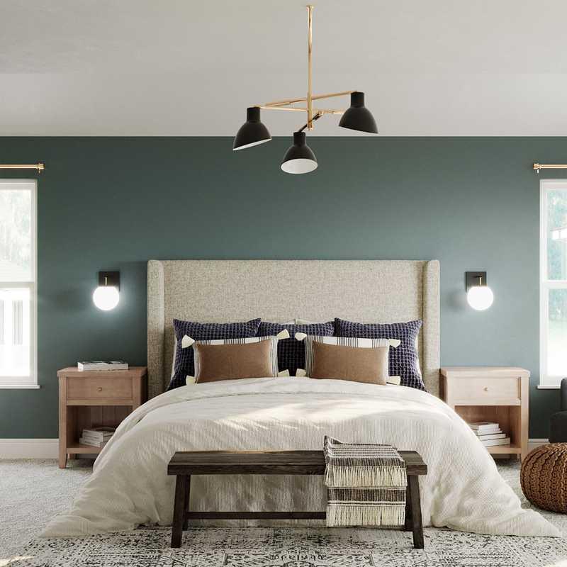 Bohemian, Midcentury Modern Bedroom Design by Havenly Interior Designer Paige
