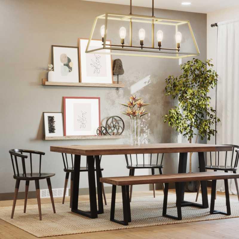 Bohemian, Industrial, Minimal, Scandinavian Dining Room Design by Havenly Interior Designer Kasia