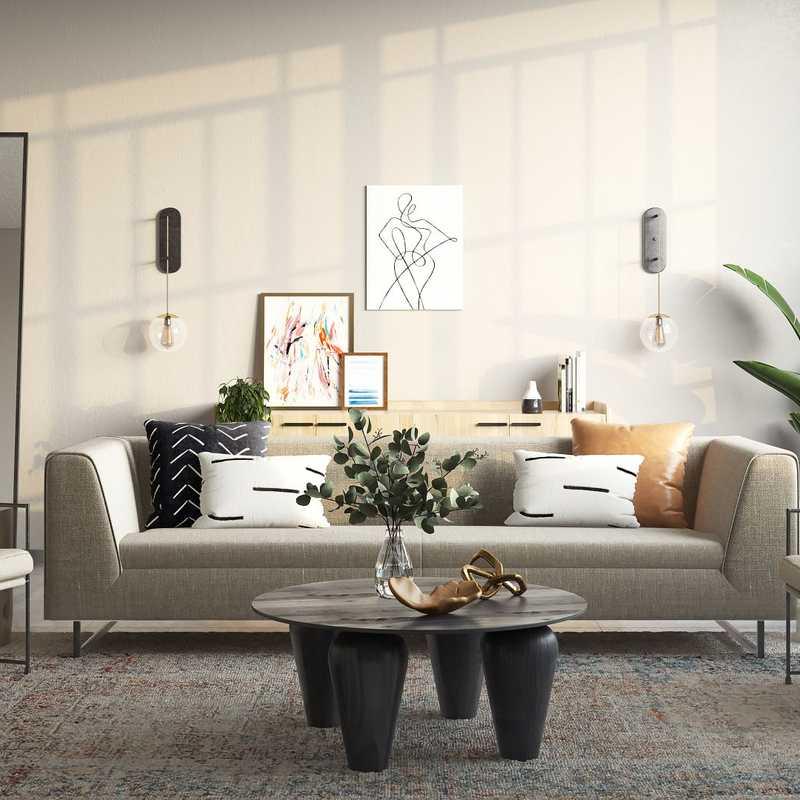 Modern, Industrial, Minimal Living Room Design by Havenly Interior Designer Astrid