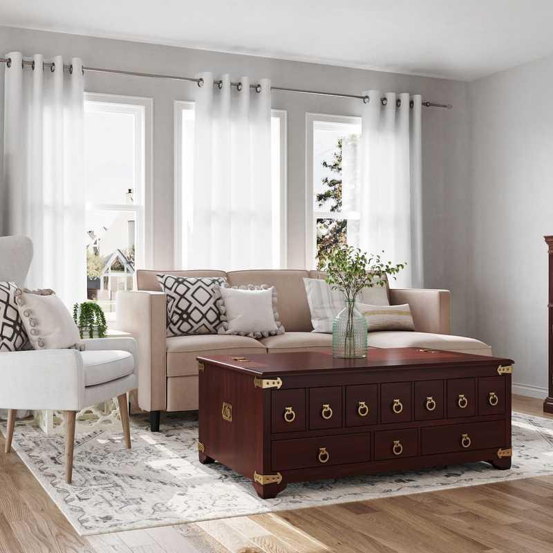 Coastal, Farmhouse Living Room Design by Havenly Interior Designer Amelia