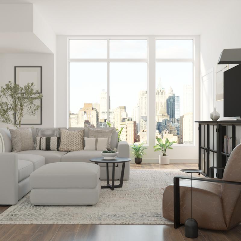 Modern, Midcentury Modern Living Room Design by Havenly Interior Designer Jennifer