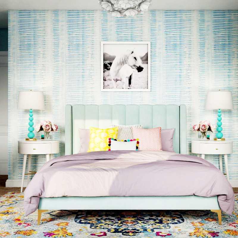Modern, Eclectic, Bohemian, Preppy Bedroom Design by Havenly Interior Designer Katerina
