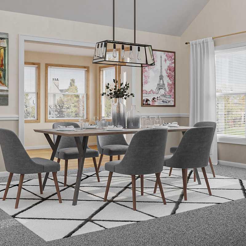 Modern, Industrial, Farmhouse Dining Room Design by Havenly Interior Designer Kaitlyn