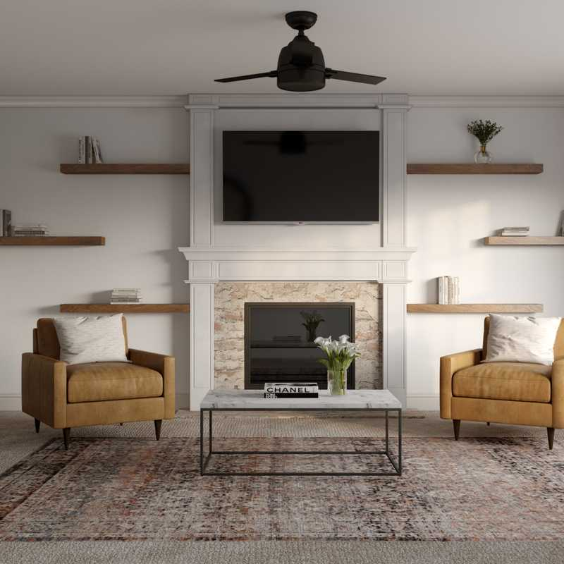 Bohemian, Industrial, Farmhouse Living Room Design by Havenly Interior Designer Courtney