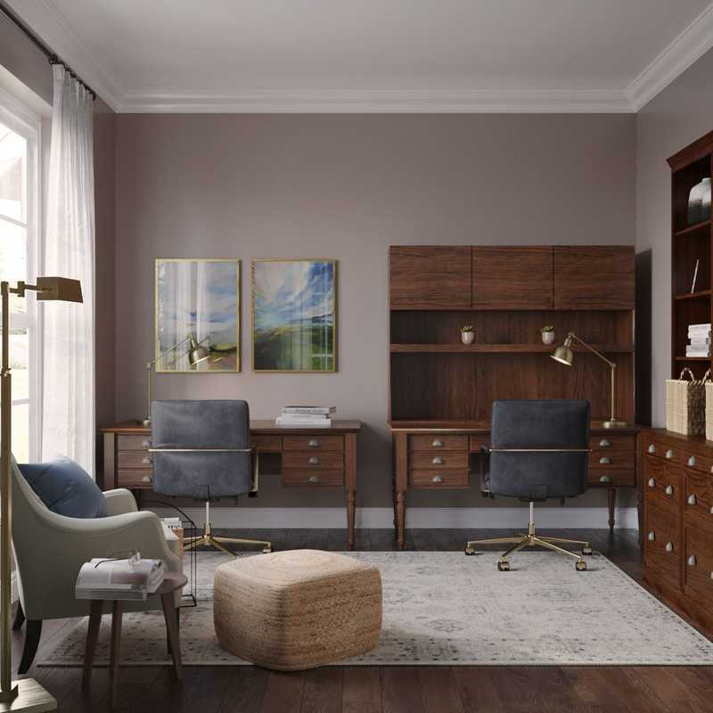 Classic, Traditional, Rustic, Transitional Office Design by Havenly Interior Designer Lisa