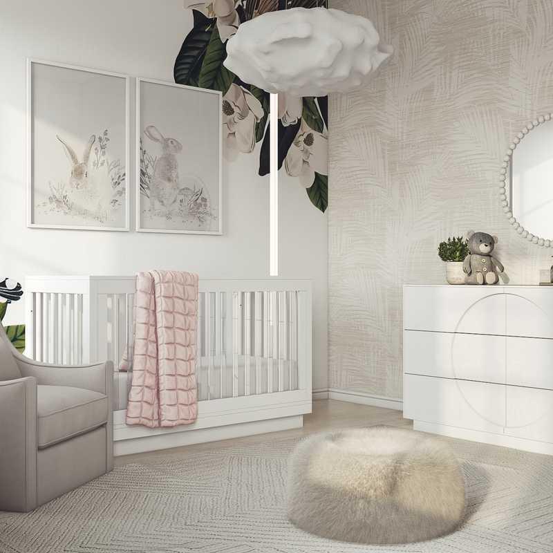 Modern, Bohemian, Coastal, Minimal Nursery Design by Havenly Interior Designer Courtney