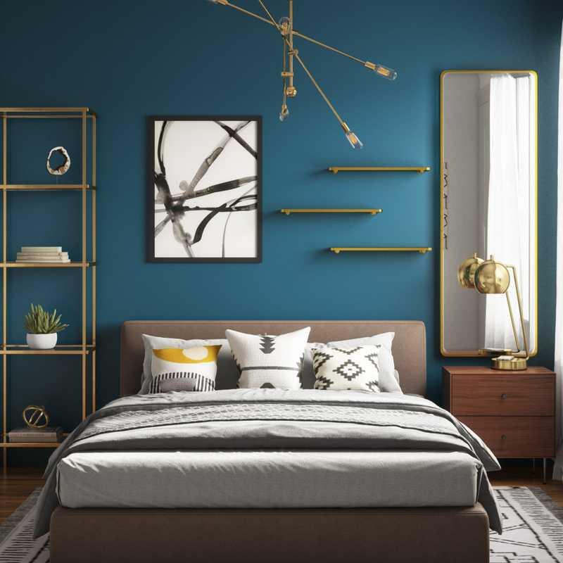 Eclectic, Bohemian, Midcentury Modern Bedroom Design by Havenly Interior Designer Hadasa