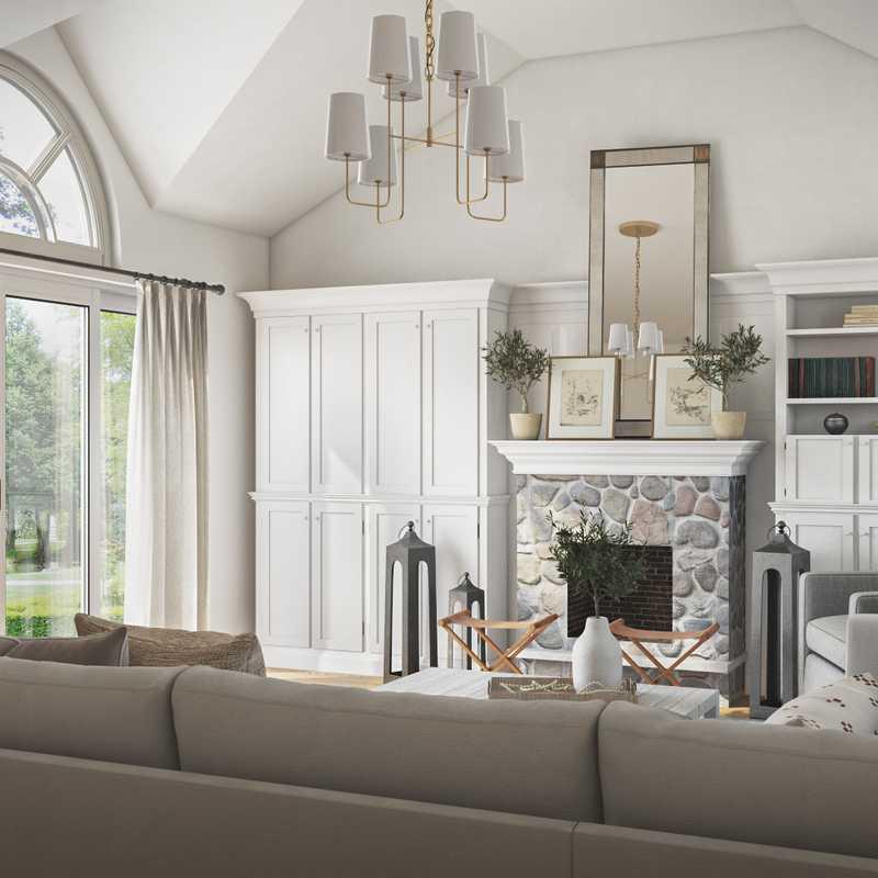 Classic, Coastal, Farmhouse Living Room Design by Havenly Interior Designer Amelia
