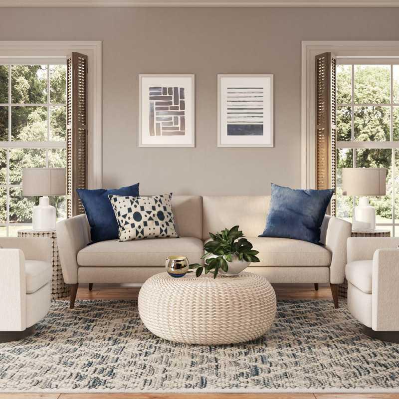 Coastal Living Room Design by Havenly Interior Designer Laurie