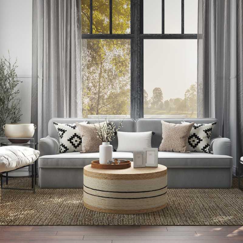 Coastal, Farmhouse, Transitional Living Room Design by Havenly Interior Designer Crystal