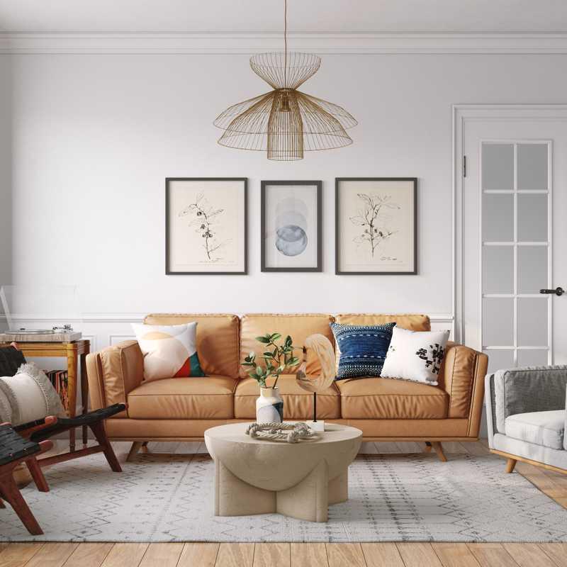 Bohemian, Midcentury Modern, Scandinavian Living Room Design by Havenly Interior Designer Heidi