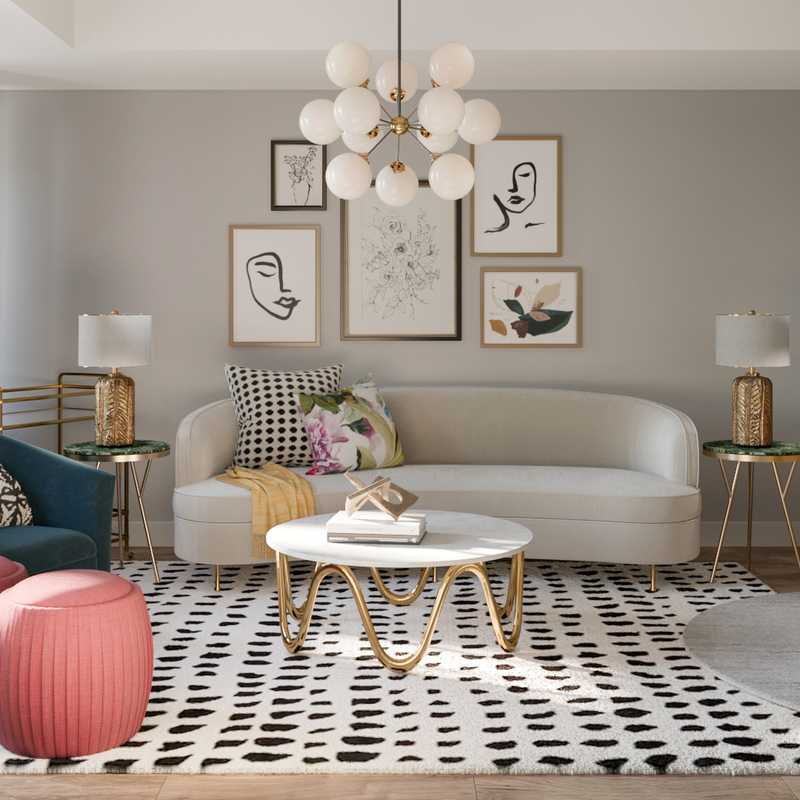 Eclectic, Glam Living Room Design by Havenly Interior Designer Maria