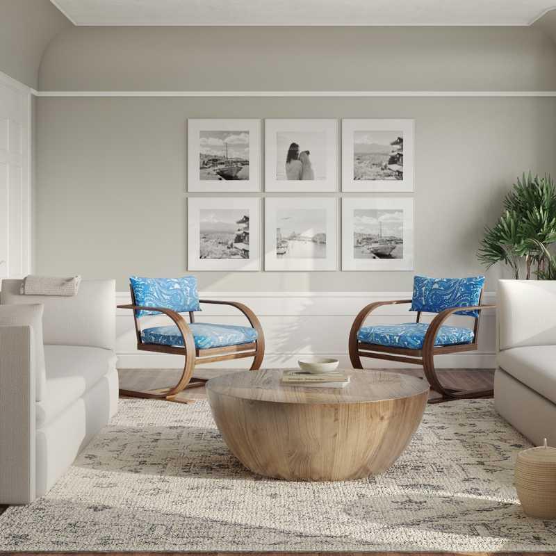 Coastal, Midcentury Modern, Minimal Living Room Design by Havenly Interior Designer Paige