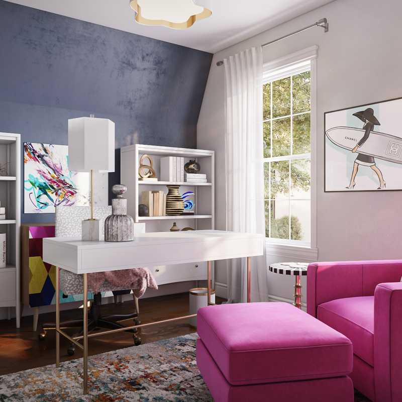 Modern, Eclectic, Glam, Preppy Office Design by Havenly Interior Designer Colleen