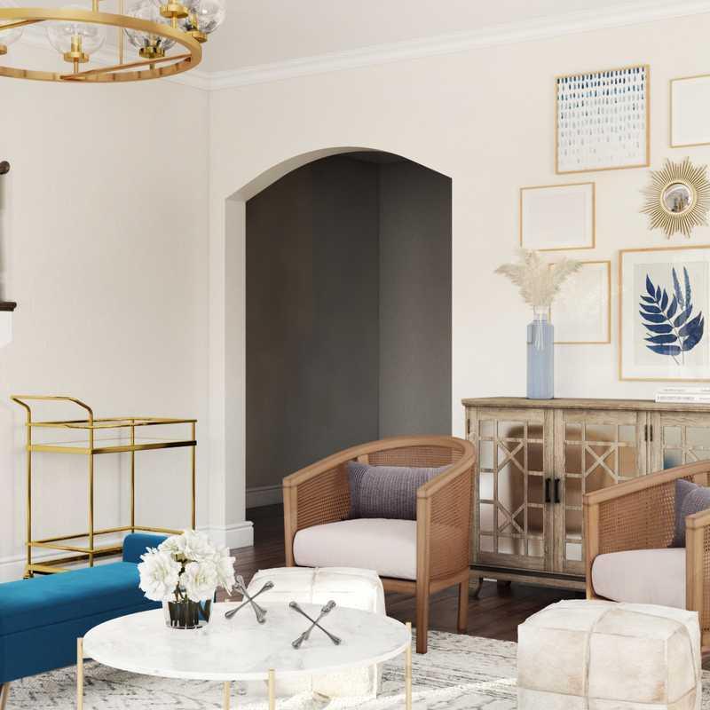 Glam, Transitional Living Room Design by Havenly Interior Designer Jennifer