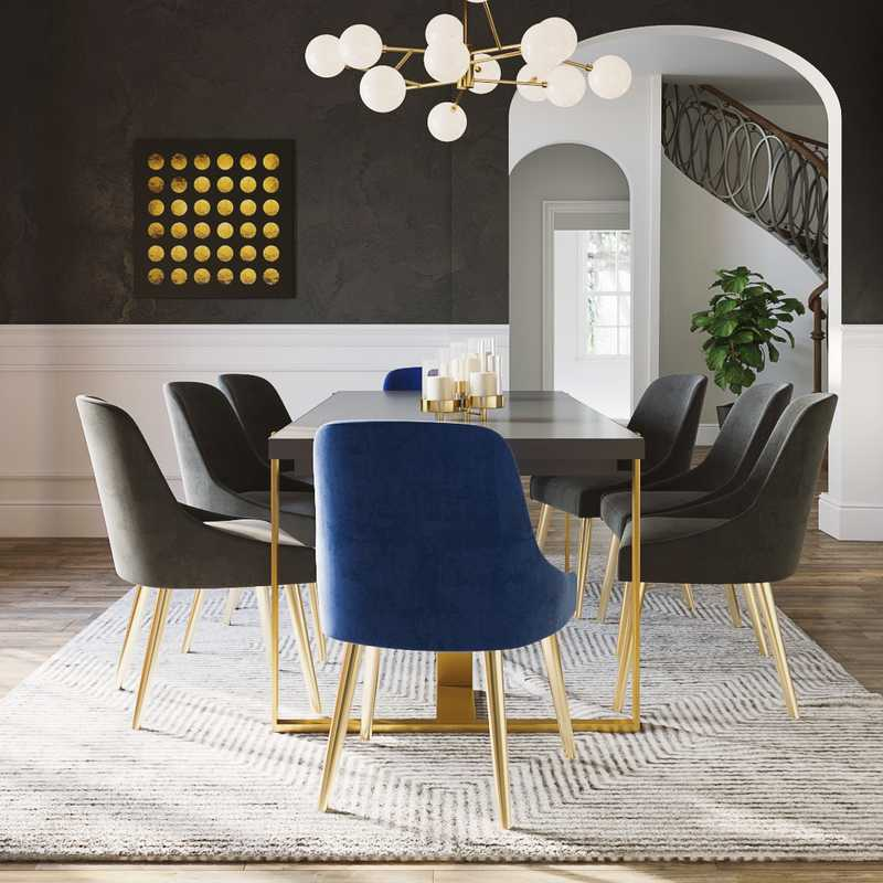 Glam, Minimal Dining Room Design by Havenly Interior Designer Toussaint