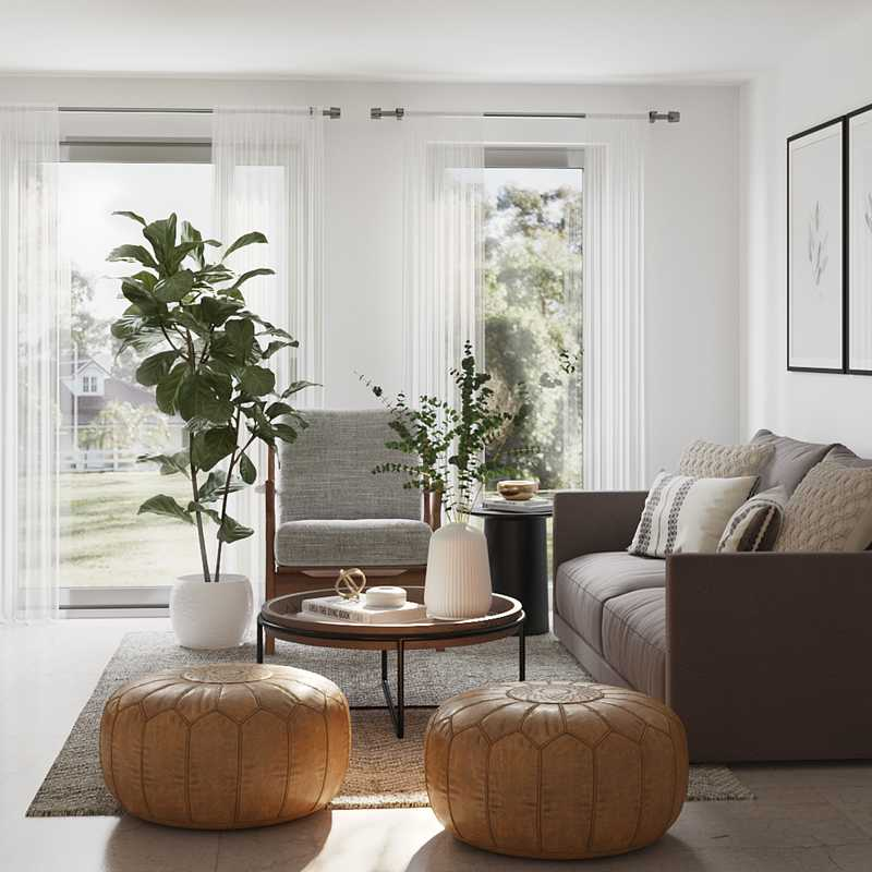 Modern, Industrial, Farmhouse, Midcentury Modern, Classic Contemporary Living Room Design by Havenly Interior Designer Laura